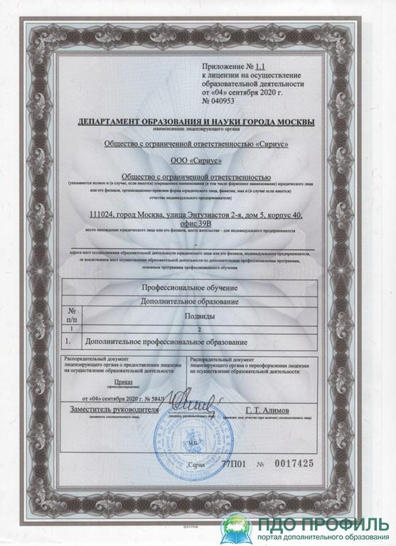 Приложение к образовательной лицензии